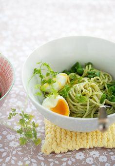 spring pesto with soft boiled egg