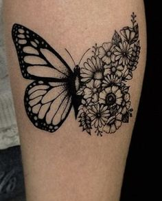 butterflies and flowers tattoo - butterflies and flowers tattoo Watercolor Chest Piece Tattoos, Spine Tattoos, Head Tattoos, Dope Tattoos, Body Art Tattoos, Small Tattoos, Sleeve Tattoos, Tatoos, Monarch Butterfly Tattoo