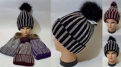WOMEN'S Winter HAT Thick Knit BEANIE FAUX FUR POM POM x 1 BLING DIAMANTE Studs  #FOXBURY #Beanie #CASUAL