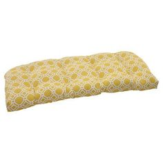 Pillow Perfect Rossmere Outdoor Loveseat Cushion Color: Yellow / White