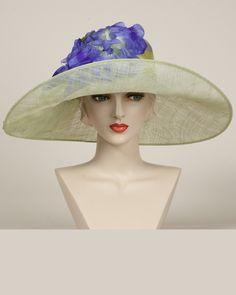 Santa Barbara, periwinkle/mint, parisisal crown & sinamay brim hat with vintage flowers & ribbon