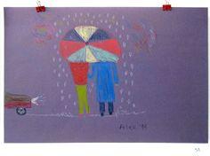 51  | Title: Rain  | Artist: Alex Lazar | Media: Colour pencil on purple paper