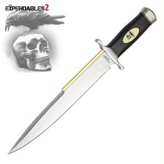 """Expendables 2 Toothpick. Gil Hibben has a history of designing knives for Sylvester Stallone to feature in his films, going back to the Rambo III Bowie. Stallone commissioned Gil to make several knives to use in THE EXPENDABLES and THE EXPENDABLES 2. One of those was a never-before-produced, custom-designed Toothpick. It offers a classic Arkansas toothpick style 11 7/8"""" AUS-6 stainless steel blade with mirror-polished finish and a solid brass back. The handle is..."""