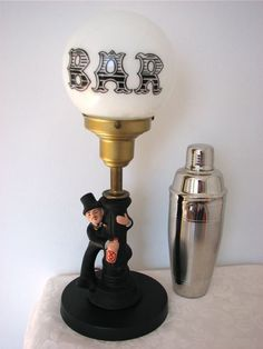 Vintage Bar Table Lamp Drunk Man On Post With Round Milk Gl Globe Shade