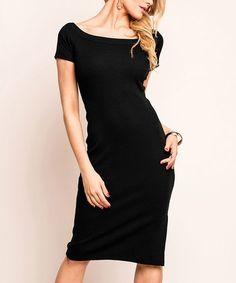 Look at this #zulilyfind! Black Boatneck Sheath Dress #zulilyfinds