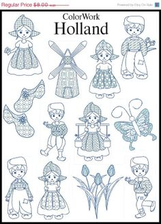 Dutch images for colouring. Embroidery Files, Cross Stitch Embroidery, Hand Embroidery, Cross Stitch Patterns, White Embroidery, Embroidery Designs For Sale, Machine Embroidery Designs, Embroidery Patterns, Delft