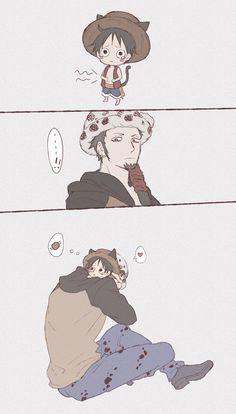 Luffy: I'm hugry Law: (cute) *hug luffy Awww Anime: One Piece Ace, One Piece Manga, One Piece Series, One Piece Funny, One Piece Ship, One Piece Comic, One Piece Fanart, Film Manga, Manga Anime