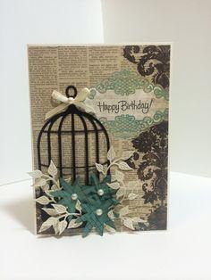 Birthday card using My Mind's Eye Lost & Found two paper, Memory Box birdcage die, MFT stamp, Cheery Lynn Ivy strip die. ~AS