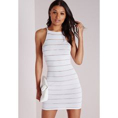 Missguided Sheer Stripe Knitted Racer Neck Dress White ($44) ❤ liked on Polyvore