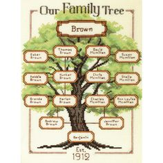 DIMENSIONS-Counted Cross Stitch Kit. Family records are a timeless treasure and with this kit you can create a beautiful wall hanging that celebrates your family history. This kit contains 14-count iv