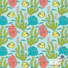 A closer look at one of the coral, seahorse, and tropical fish patterns from Northern Whimsy's Coral Reef collection. Fish Patterns, Fabric Patterns, Tropical Fish, Surface Pattern, Closer, Fabrics, Super Cute, Coral, Scrapbooking