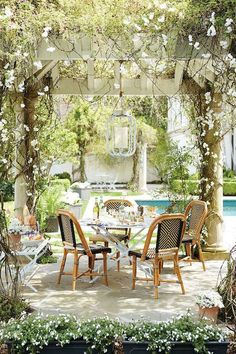 Inspired Outdoor Entertaining from Domino Outdoor seating area with pergola Outdoor Seating Areas, Outdoor Rooms, Outdoor Dining, Outdoor Decor, Outdoor Retreat, Outdoor Living Spaces, Outdoor Kitchens, Gazebos, Arbors