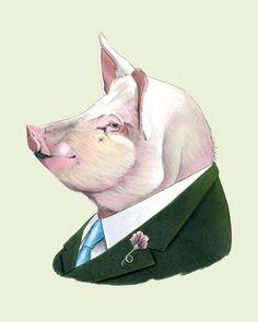 Schwein Drucken 11 x 14 von berkleyillustration auf Etsy