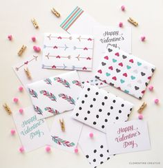 mini printable valentine envelopes and cards #valentine #print