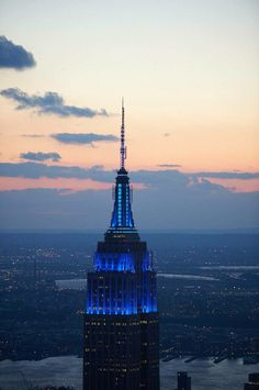 The Empire State Building Lit in blue, in memory of Fallen NYPD officers .