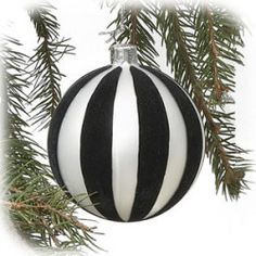 "4"" Black and White Stripe Glass Ball Ornament"