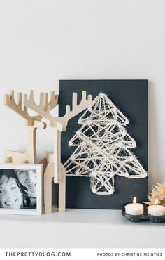 With only a few sleeps to go until Christmas we bring you this dead easy, string wall art DIY idea. We created three really simple Christmas shapes, that is sure to put you in a festive mood. Noel Christmas, Winter Christmas, All Things Christmas, Scandi Christmas, Christmas Wall Art, Simple Christmas, String Wall Art, Winter Diy, Navidad Diy