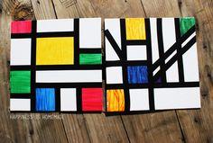 Piet Mondrian Style Abstract Art Activity for Kids