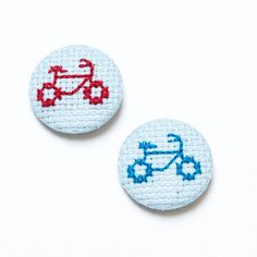 Bicycle Cross Stitch Badge // Hand stitched by SarahFordhamArt