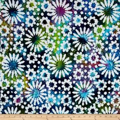 Indian Batik Cascades Daisy Green/Blue/Purple from @fabricdotcom  From Textile Creations, this Indian batik is perfect for quilting, apparel and home decor accents. Colors include orange, yellow, shades of green, navy, aqua, blue, purple and white.