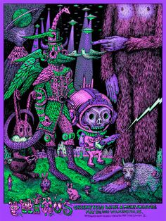 Primus show at The Greenfield Lake Amphitheatre in Wilmington NC, immortalized by this fantastic poster by David Welker. Tour Posters, Band Posters, Music Posters, Poster Series, New Poster, Drawing Interior, Ad Art, Concert Posters, Painting & Drawing