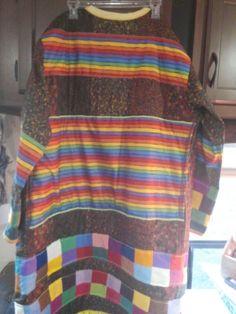 Multi Colour Knit Peacock Long Fringe Duster Joseph Cardigan Coat of Many Colors