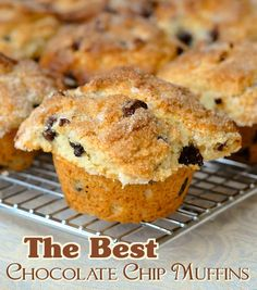 The Best Chocolate Chip Muffins - a perfect chocolate chip muffin should have a crunchy top and a perfectly baked interior that isn't dry but is just a little denser than cake. I'm not really partial to muffins that are too cake-like in texture. This recipe gets the balance just right.