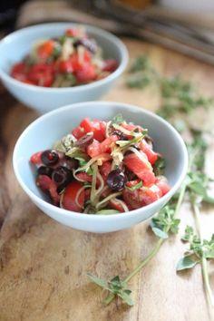 Cucumber and Tomato Salad with Kalamata Olives, Fresh Basil and Oregano, and Balsamic Vinegar