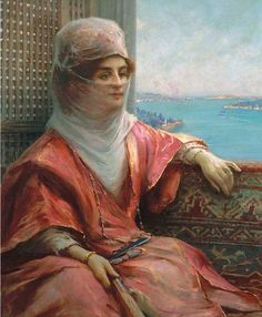'Portrait of a Turkish Lady with the Bosphorus in the Background' by Fausto Zonaro . Pics Art, Turkish Art, Italian Painters, Painting People, Historical Art, Naive Art, Arabian Nights, Ottoman Empire, Background S