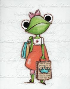 Leap Cute Frog E ~©dianeduda/dudadaze Frog Illustration, Puppet Crafts, Frog Art, Free Hand Drawing, Cute Frogs, Frog And Toad, Cool Pets, Whimsical Art, Banksy