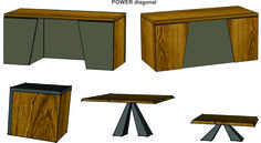 """Woost """"POWER – diagonal"""" furniture concept exclusively for head managers. Different materials, textures and colours are available. Let us know what you think."""
