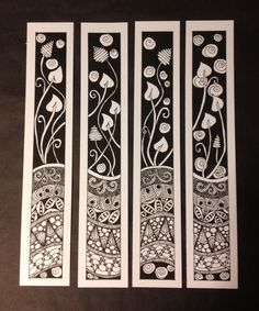 Zentangle Bookmarks or frame them all together. Hmmmmmmm.......... Depending on size - would make a lovely Dollshouse Screen...?