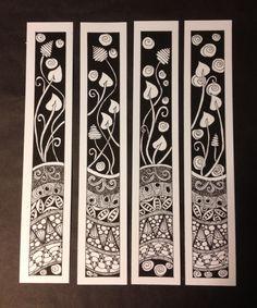 Zentangle Bookmarks or frame them all together. Hmmmmmmm.......... Depending on size - would make a lovely Dollshouse Screen...?
