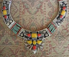 Rare Vintage Egyptian Revival Agate Jasper Red Coral Tribal Silver NECKLACE
