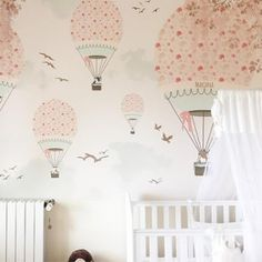 Little Hands Hot Air Ballon ride with furry friends Pink Wall Scene