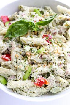 Creamy pesto chicken pasta made with healthy Greek yogurt, vegetables, and cooked chicken | littlebroken.com @littlebroken