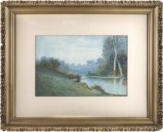 River Scene,Will T. Hunleigh, watercolor on paper, 1880-1910, Georgetown. Tour Guide, Exhibit, Kentucky, 19th Century, Scene, Tours, River, Watercolor, Landscape