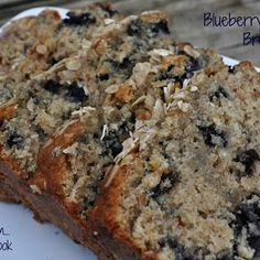 Blueberry Oatmeal Bread- substituted butter for 1/2 coconut oil,  1/2 applesauce, added 1/2 cup more oats, a little bit of lemon extract, coconut milk yogurt for greek yogurt
