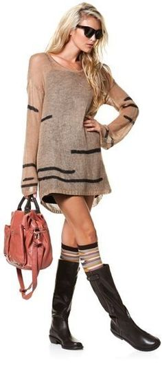 Loving the socks with sweater dress!