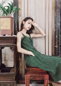 Preppy Style Vintage Green Voile Lace Mori Girl Bowknot Slip Dress Women's  #Unbranded #Sweet