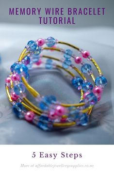 A step by step tutorial with video included. Links to everything you need to make this. Memory Wire Bracelets, Beaded Bracelets, Big Jewelry, Jewellery, Beading Projects, Bracelet Tutorial, Step By Step Instructions, Gold Chains, Tutorials