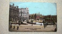 Old Postcard The City Square Leeds Dated 1906 Busy Street Scene