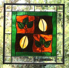 AUTUMN LEAVES - Contemporary Stained Glass Window Panel with Fall Colors and Bevels. $74.00, via Etsy.