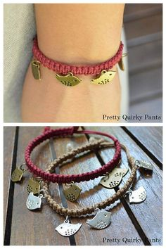 DIY Easy Macrame Bracelet with Charms Tutorial from Pretty Quirky Pants via True Blue Me & You Diy Bracelets Easy, Macrame Bracelets, Diy Friendship Bracelets With Charms, Knot Bracelets, Macrame Bracelet Tutorial, Do It Yourself Fashion, Diy Jewelry Making, Jewellery Diy, Jewelry Knots
