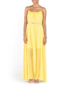Sheer Overlay Maxi Dress With Belt