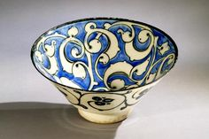 Earthenware and enamel, Persian, 13th century
