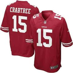 Michael Crabtree San Francisco 49ers Jersey (Home) by NFL. $89.95. Strategic ventilation for breathability. Sewn player name and number. 100% recycled polyester. No-tag neck label offers clean comfort. Tailored fit designed for movement. Represent your favorite team and player anytime in the NFL® Michael Crabtree men's Game jersey. Inspired by what he's wearing on the field,  the Game jersey features the name Crabtree and the number 15.