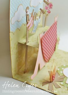 The Dining Room Drawers: Pop 'n Cuts Camping card 3d Cards, Paper Cards, Origami Templates, Box Templates, Camping Cards, Pop Up Art, Paper Magic, Up Book, Card Making Tutorials