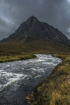 River Coupall flows in front of Stob Dearg (Buachaille Etive Mor) in Scotland