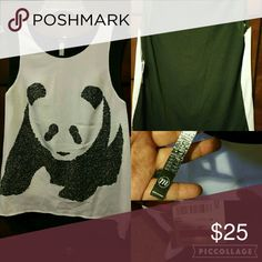 Tank top blouse White and black tank top blouse with panda design in the front, perfect for the summer or even to wear at work with a coat Kensie Tops Blouses
